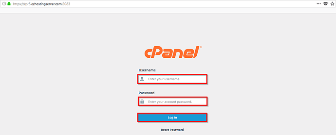 Login_Using_cPanel_Server_URL_Log_in