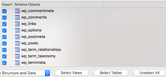 Export Tables