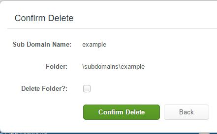 Delete Sub-Domain