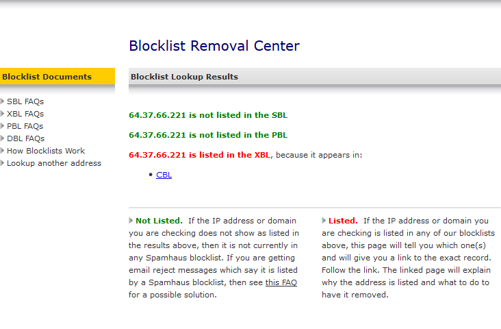 Delisting and IP Lookups from Common Blacklist - E-Mail - Hostek